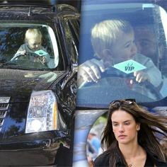 //alessandra ambrosio jamie mazur son baby noah driving  sq