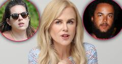 Nicole Kidman Looking Concerned Closeup With Inset of Conner and Isabella Cruise