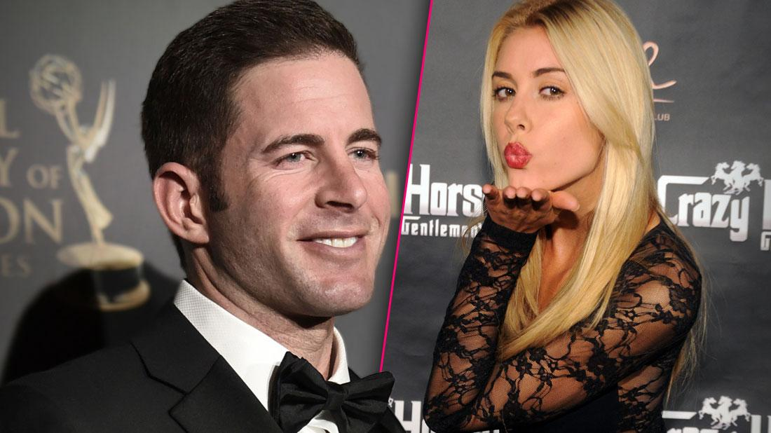 Tarek El Moussa Smiling Wearing Tuxedo, Heather Rae Young Wearing Black Lave Dress Blowing a Kiss