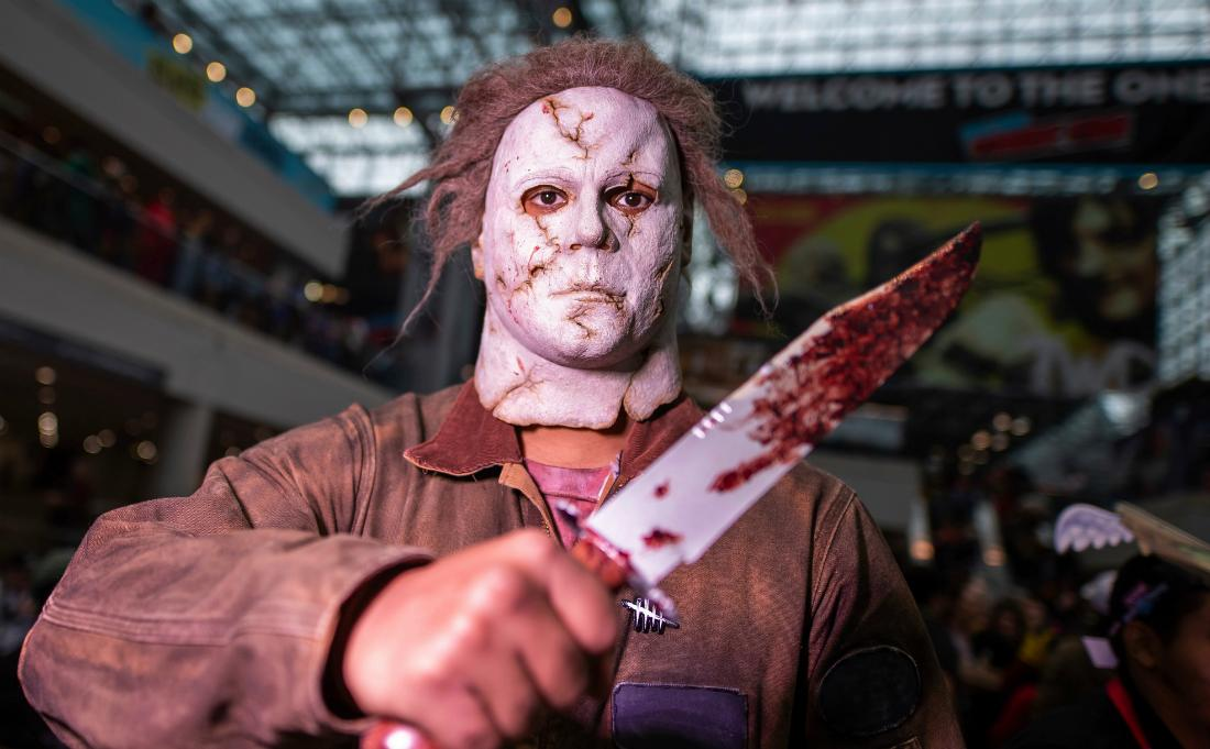 A man dressed up as Halloween's Michael Myers.