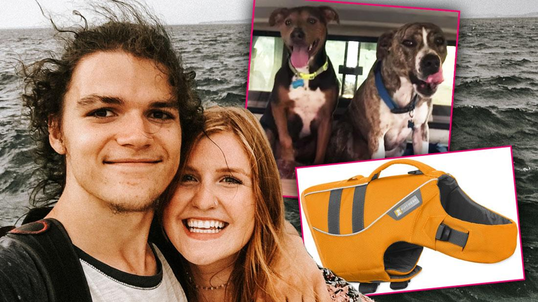 Smiling Jacob Roloff Wearing White T-shirt With Black Trim With his Arm Around Smiling Isabel Rock Wearing Print Top With Body of Water In The Background Inset Photo Of Their Two Dogs and Inset Of A Floating Vest For Dogs