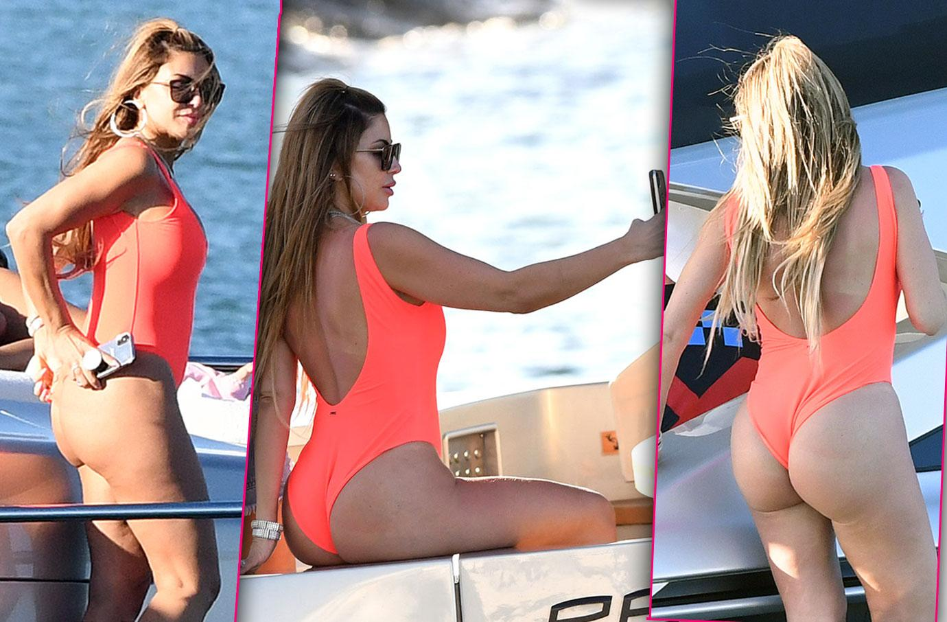 Larsa Pippen in Miami with Orange Swimsuit Miami