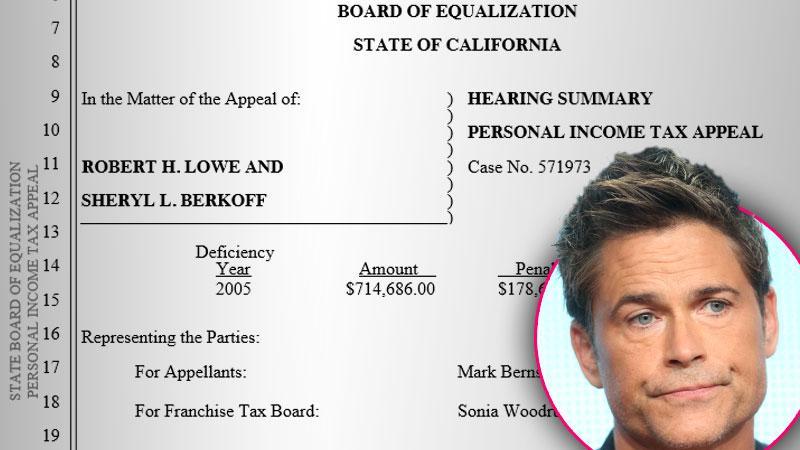 Rob Lowe Taxes $10 Million