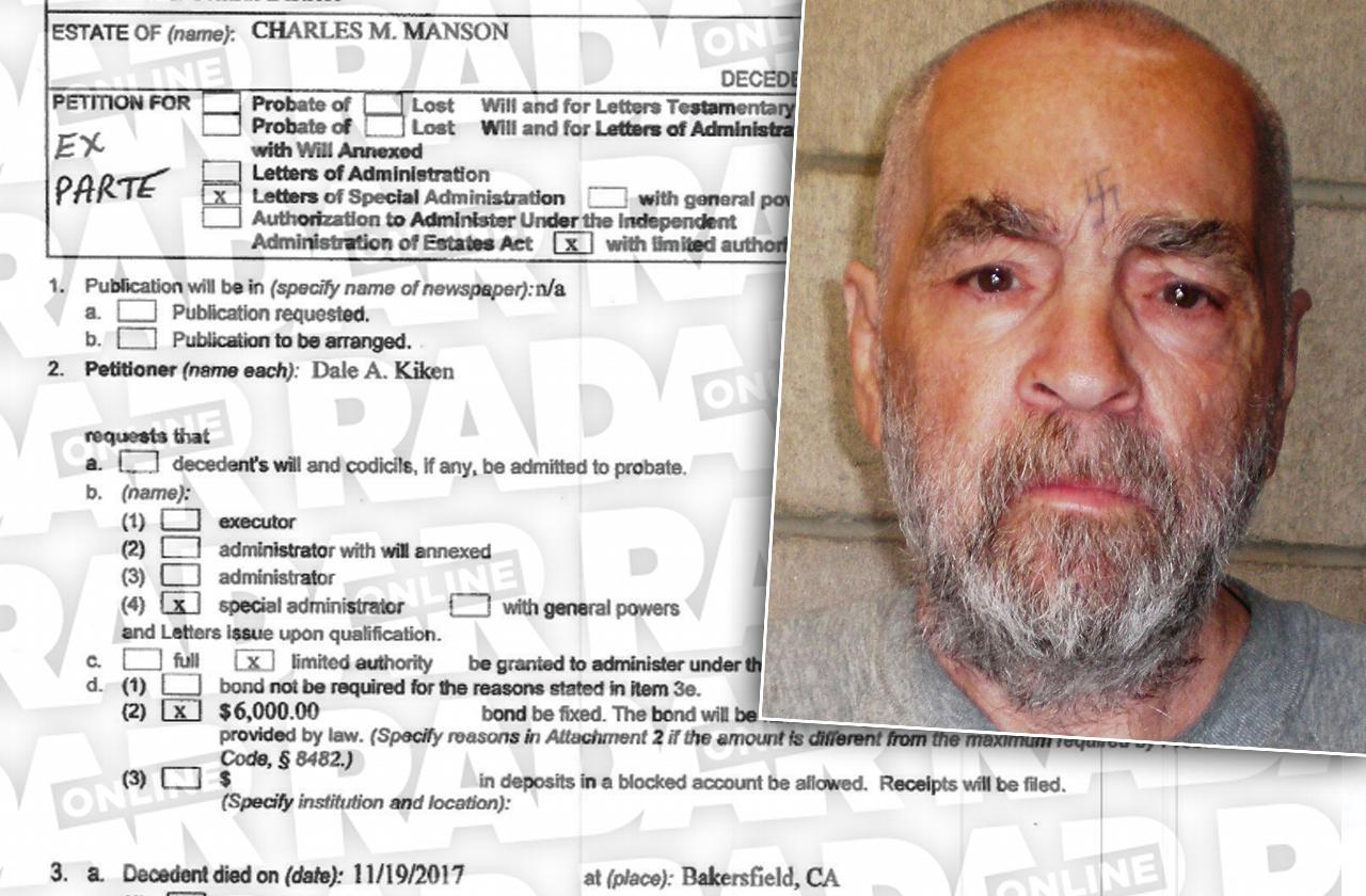 charles manson grandson emergency order cult killer prison items