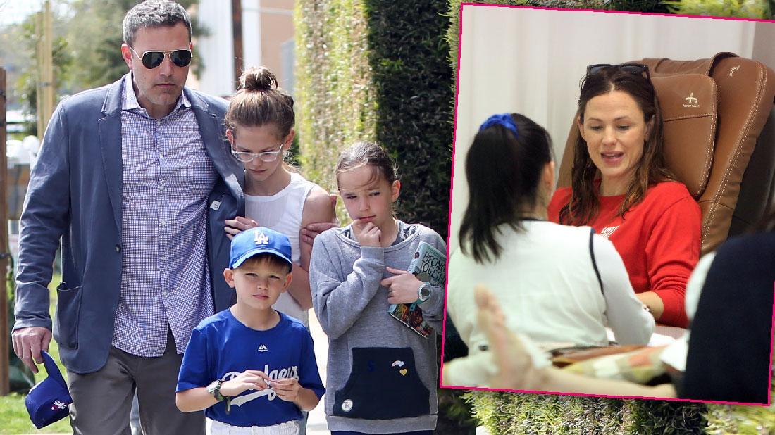Jennifer Garner Gets Mani As Ben Affleck Takes Kids