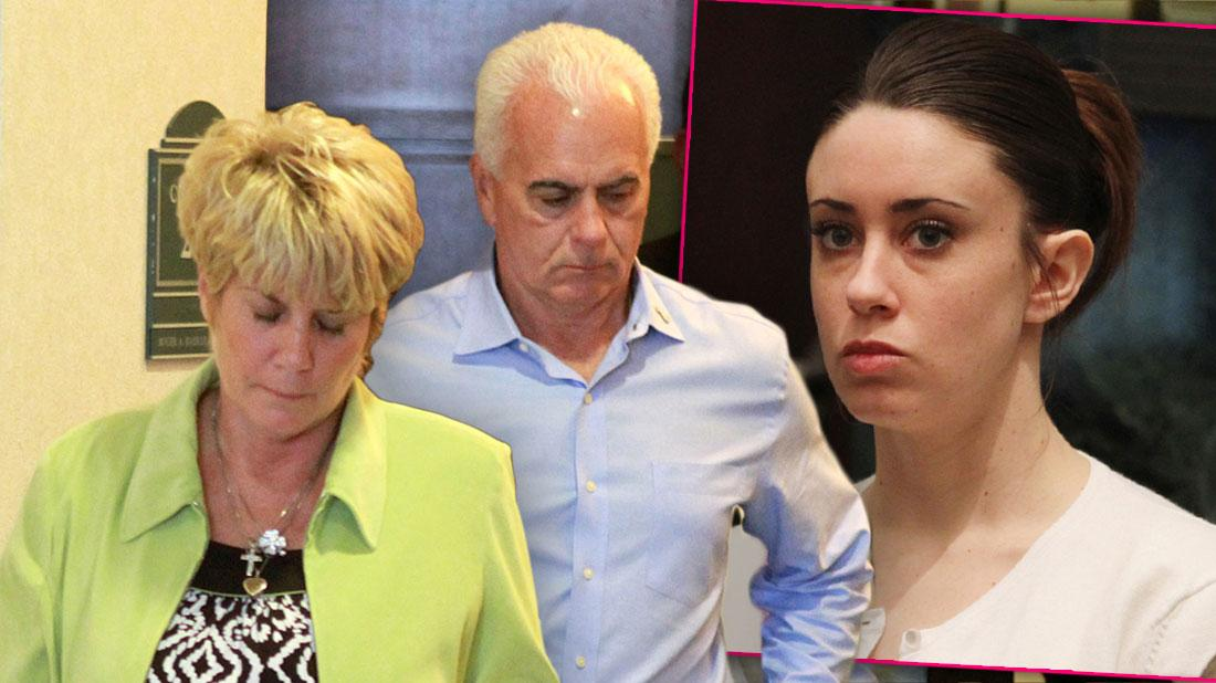 Casey Antony's Mom Wearing Green Blazer and Black and White Top Along With Father Earing Blue Shirt Inset Casey Anthony Where White Shirt