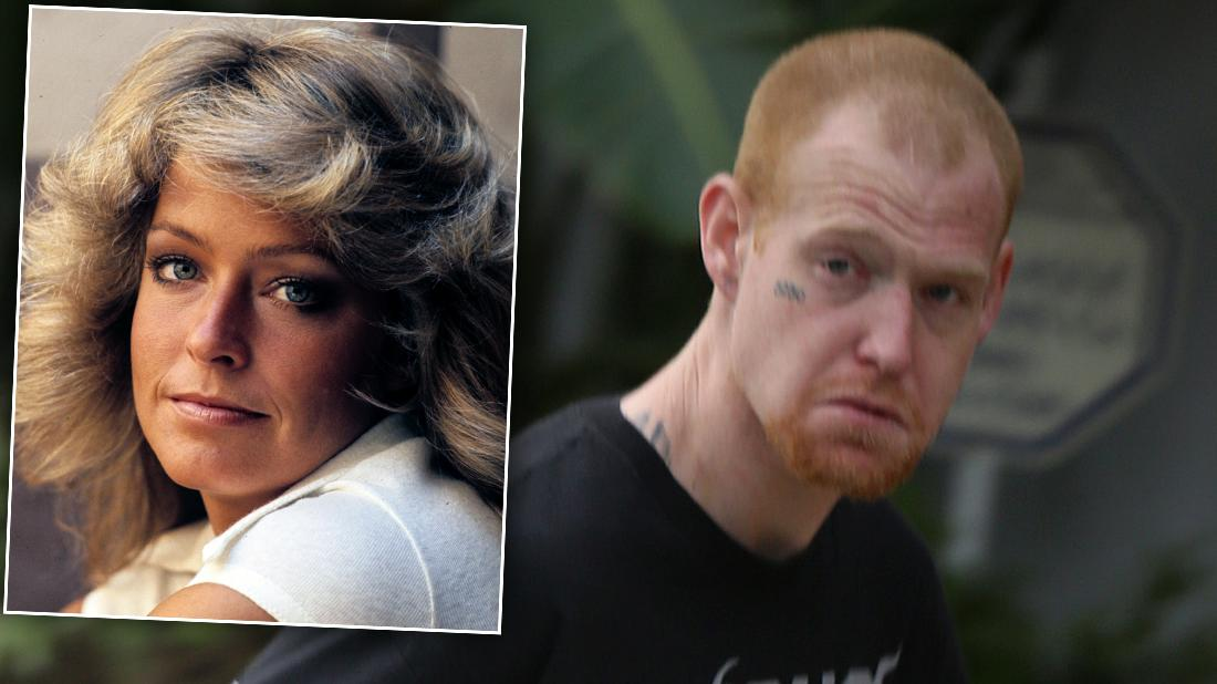 Redmond O'Neal Looking Angry With Inset of Farrah Fawcett Closeup