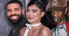 Split of Smiling Drake Looking Right, Smiling Kylie Jenner Looking Left, Inset of Angry Travis Scott