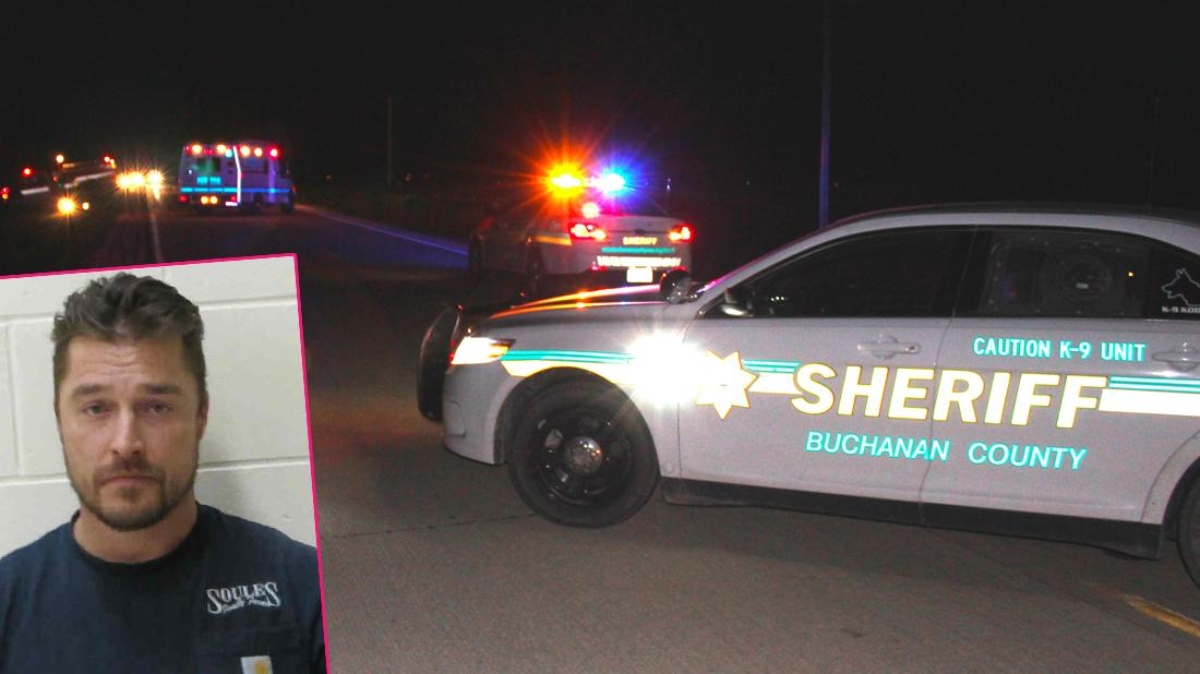 Main, police on the scene following Bachelor star Chris Soules's alleged hit and run accident in Iowa on April 24. Inset, Chris Soules has been arrested and charged with leaving a scene of a fatal accident.
