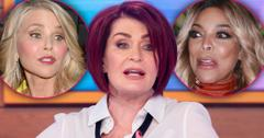 SHaron Osbourne Looking Like She's Yelling With Insets of Angry Wendy Williams and Startled Christie Brinkley