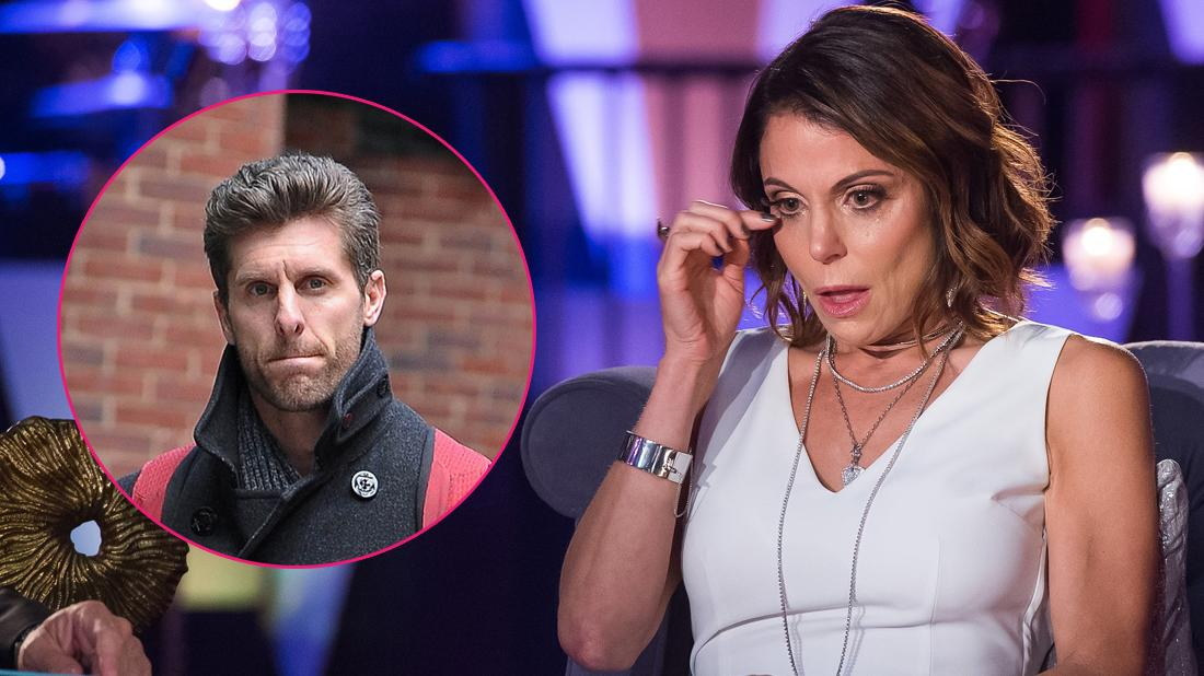 Bethenny Frankel wears a white shirt and is near tears. Jason Hoppy is inset