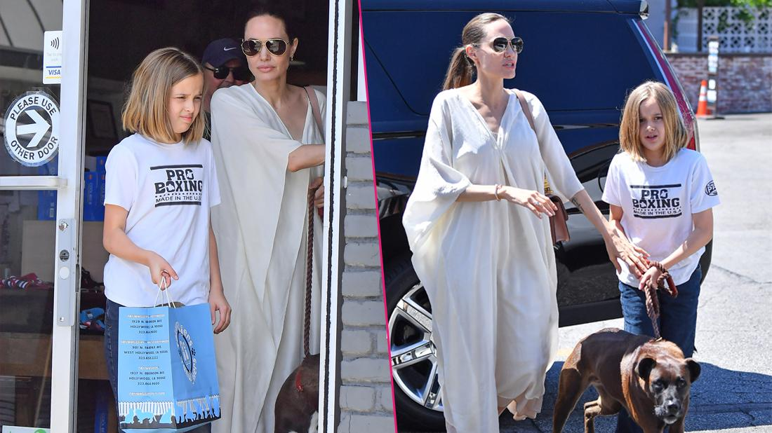 Angelina Jolie and Vivienne Jolie-Pitt head to a dog supply store in Los Angeles.