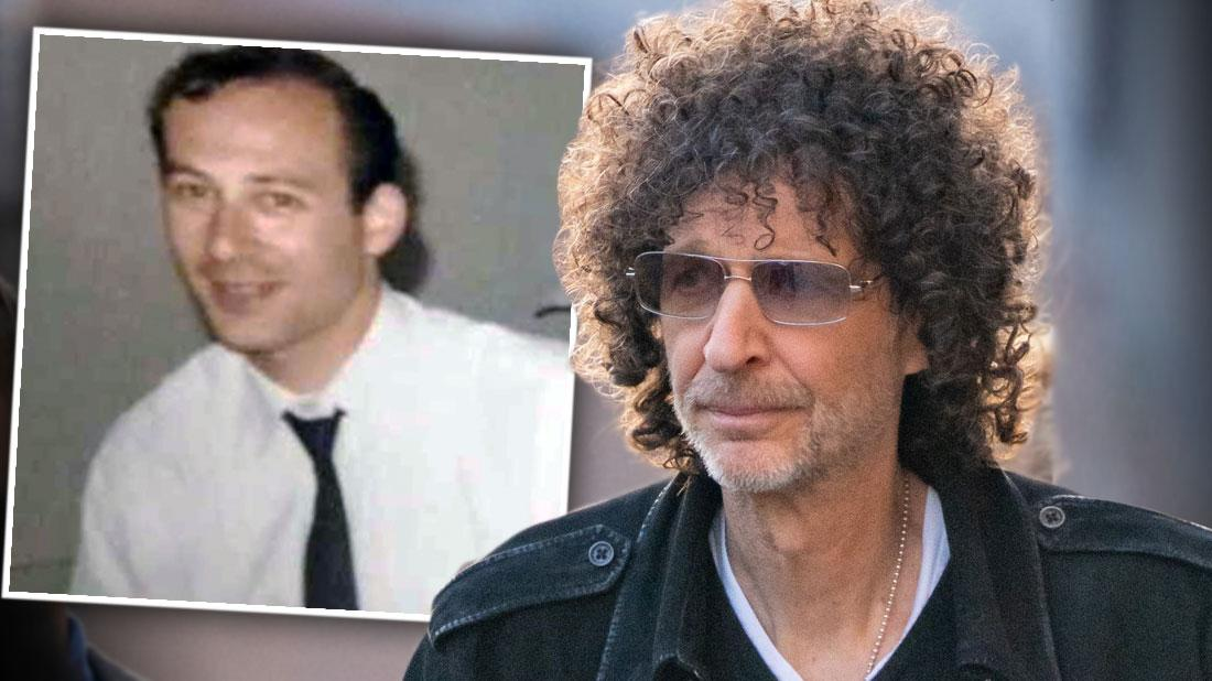 Inset of Donald Jay Barnett Wearing White Shirt and Tie , Sad Looking Howard Stern Looking Left