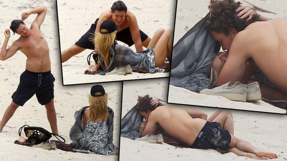 Heidi Klum Kissing Boyfriend On Beach