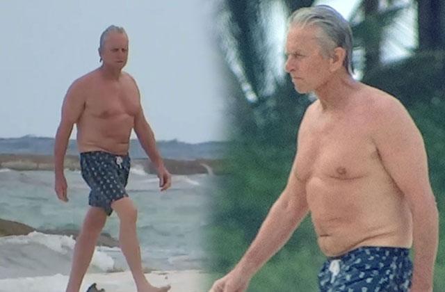 //michael douglas shirtless beach mexico pp