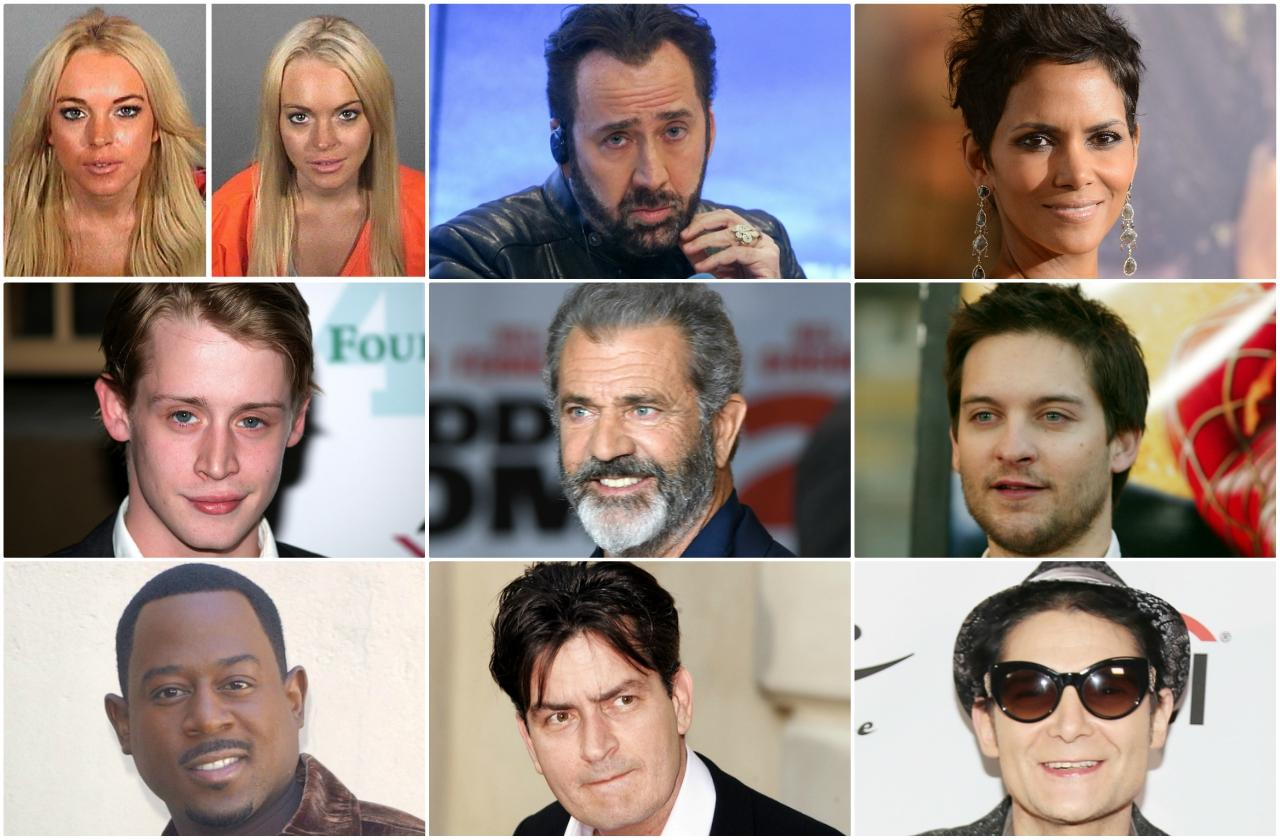 A collage of celebrities crushed by fame including Lindsay Lohan, Nicolas Cage, Halle Berry, Macaulay Culkin, Mel Gibson, Tobey Maguire, Martin Lawrence, Chalie Sheen, and Corey Feldman
