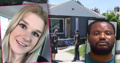 Inset of Mackenzie Lueck and Inset of her suspected killer Ayoola Ajayi, Police at Suspect Ayoola Ajayi Home