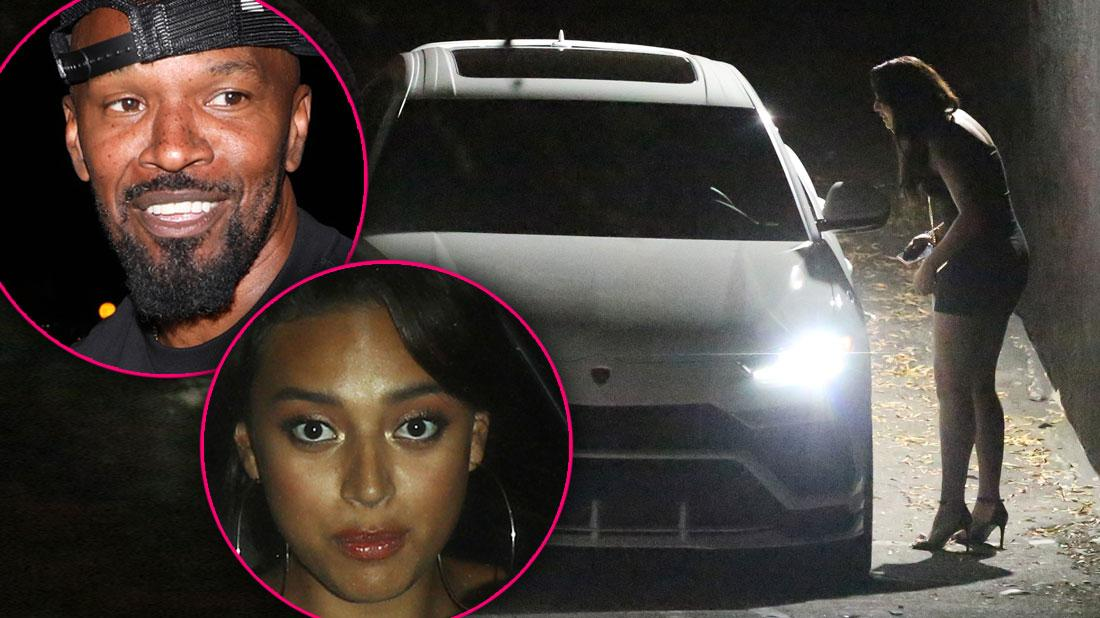 Sela Vave Leaning into Jamie Foxx's Car