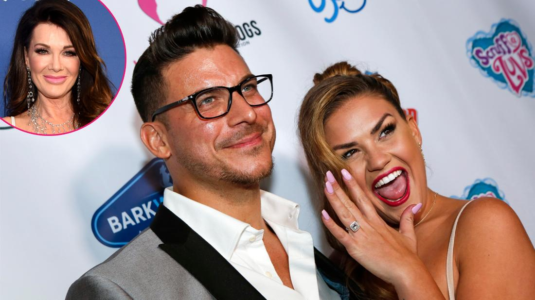 Lisa Vanderpump, inset left. Jax Taylor and Brittany Cartwright attend an award ceremony.