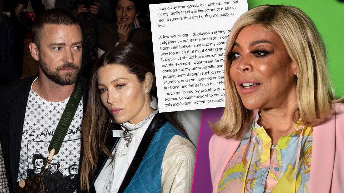 Inset Justin Timberlake and Jessica Biel, Inset Instagram Apology, Wendy Williams