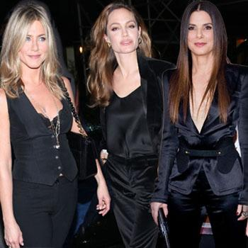 //jennifer aniston angelina jolie sandra bullock black suit best