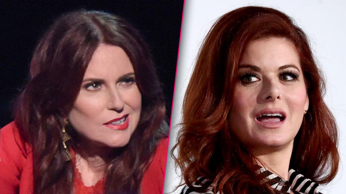 Closeup Megan Mullally in Red Dress Looking Angry Split With Debra Messing in Striped Top Looking Upset