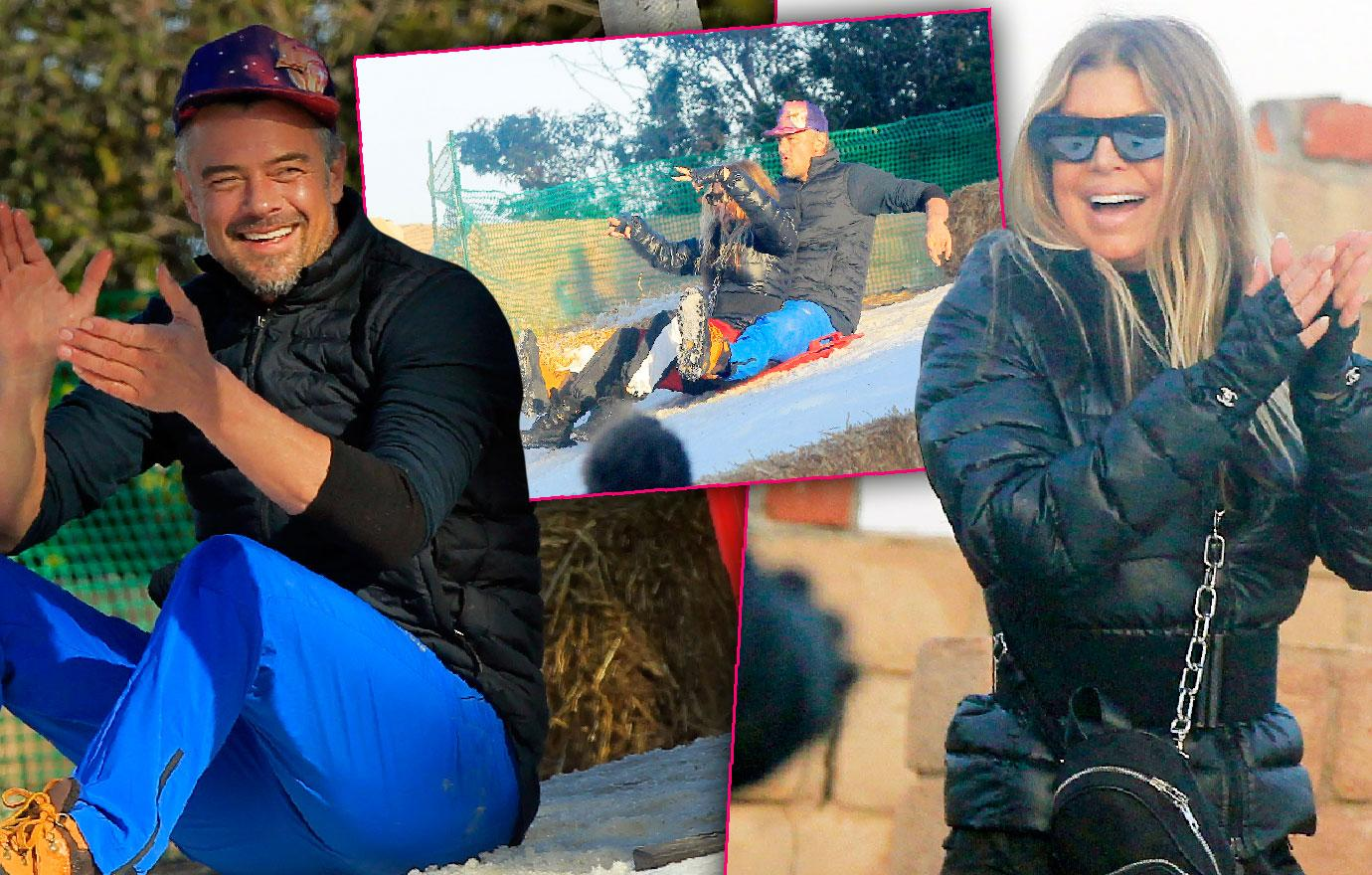 Fergie Ex-Husband Josh Duhamel Bond At Snow Party