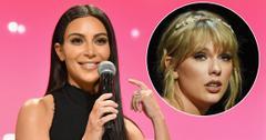 Kim Kardashian wears a black dress. Inset, Taylor swift at the time gala 2019.