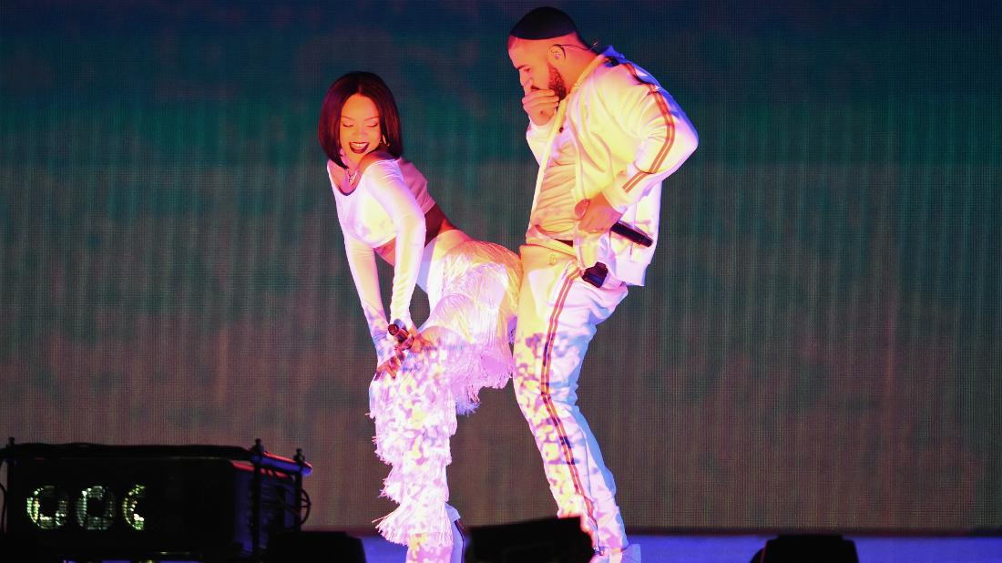 Drake and Rihanna performed in matching white outfits.