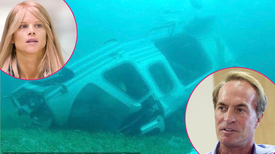 Underwater images of the helicopter in which billionaire coal magnate Chris Cline, his daughter and five others, died in a crash off the Bahamas. Insets of Chris Cline and Elin Nordegren