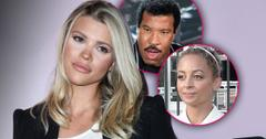 Sofia Richie looking right at inset photo of Lionel Richie looking sad, and Inset of Nicole Richie looking sad.
