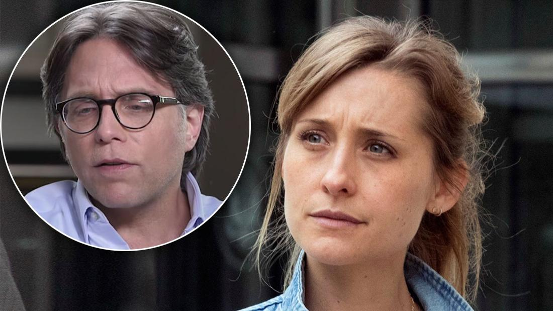 Allison Mack Looking Serious In Denim Jacket With Inset of Serious Keith Raneire in Purple Shirt