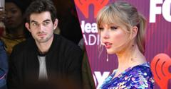Taylor Swift dons a blue dress and inset is Conor Kennedy wearing a black jacket and a white shirt.