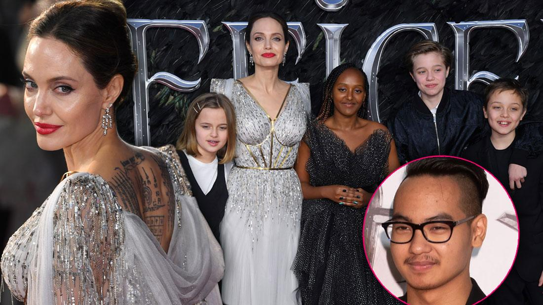 Angelina Jolie Brings Her Brood To Maleficent Premiere In London, Inset Of Maddox Jolie-Pitt