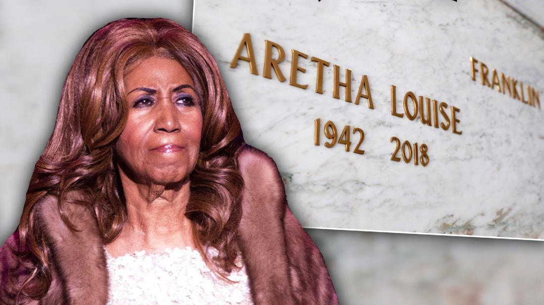 Aretha Franklin Looking Upset With Insets of Her Grave