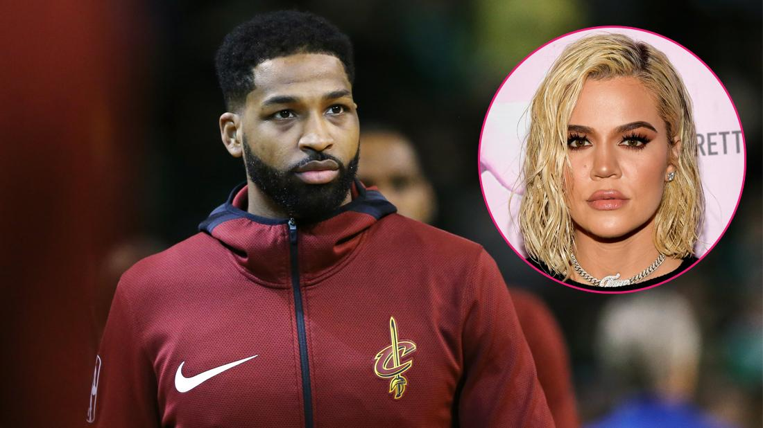 Tristan Thompson wears a Cleveland Cavaliers player's jacket. Inset, Khloe Kardashian.