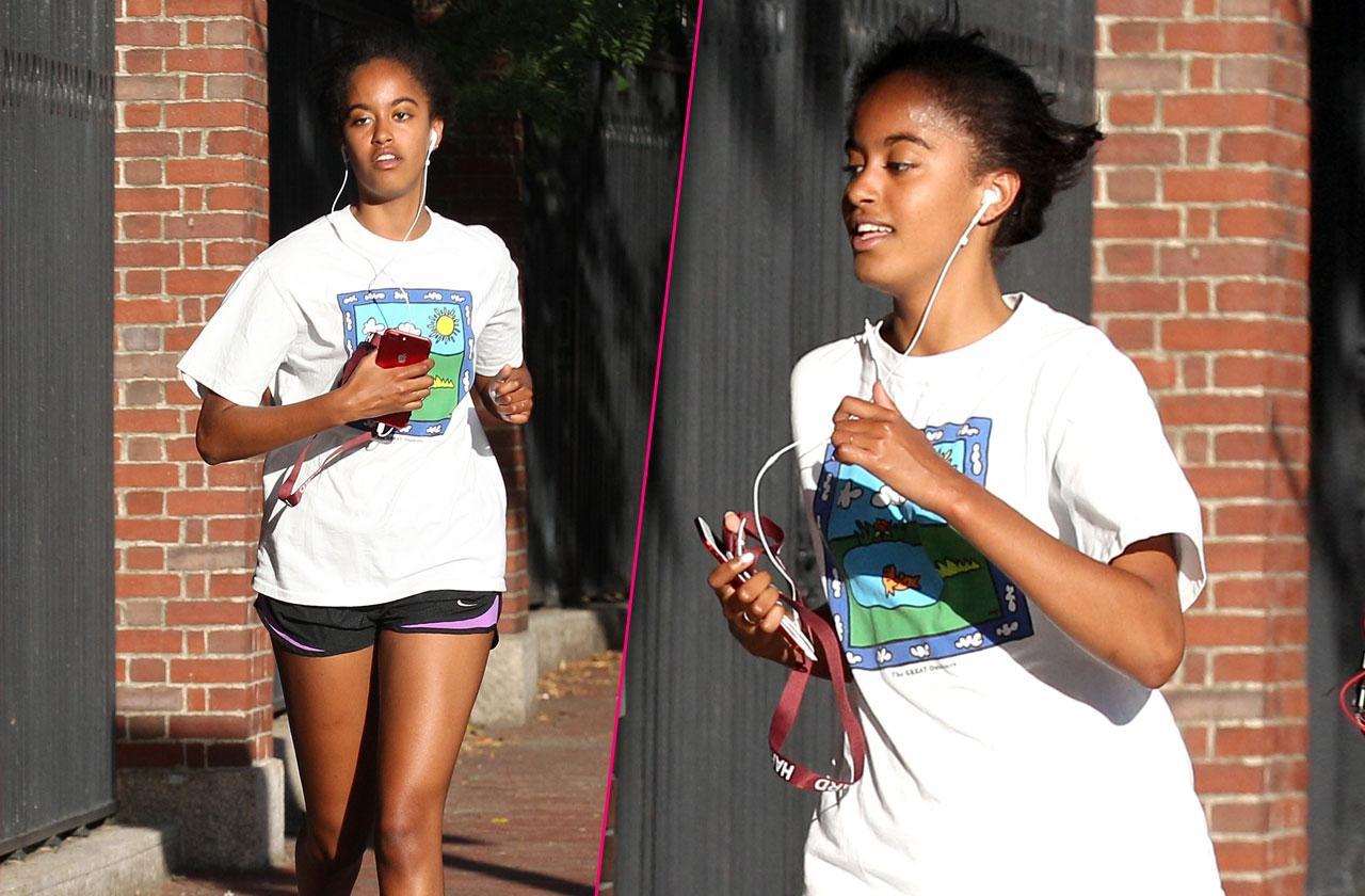 Malia Obama shorts jog harvard
