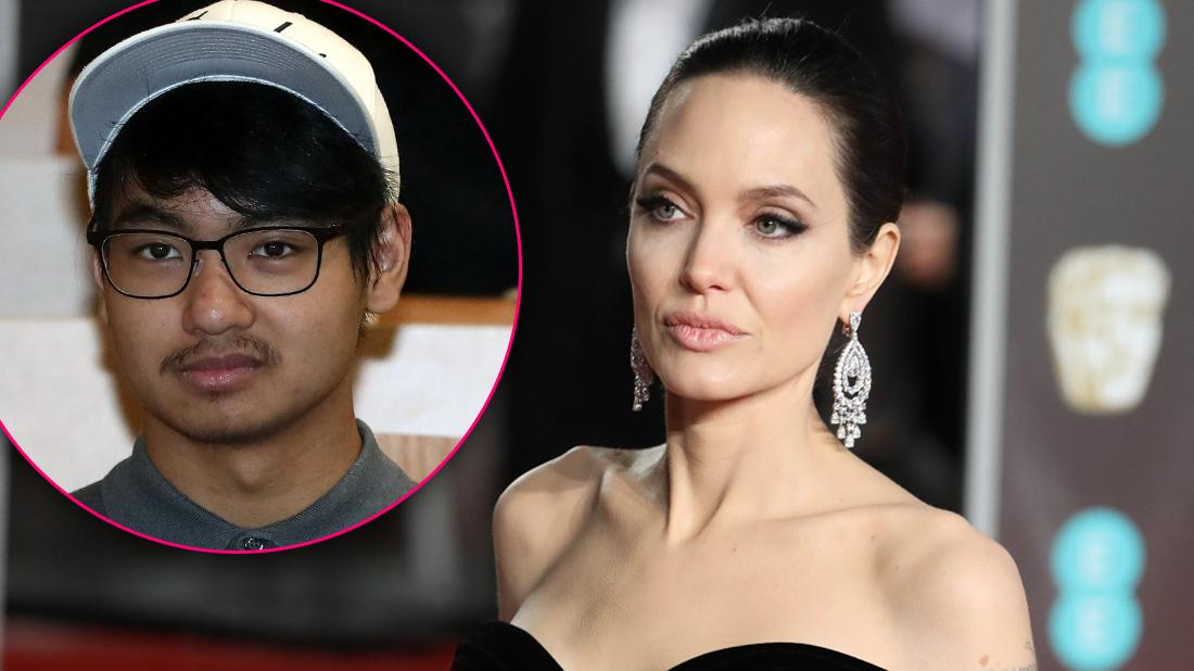 Angelina Jolie Looks Serious Inset of Son Maddox