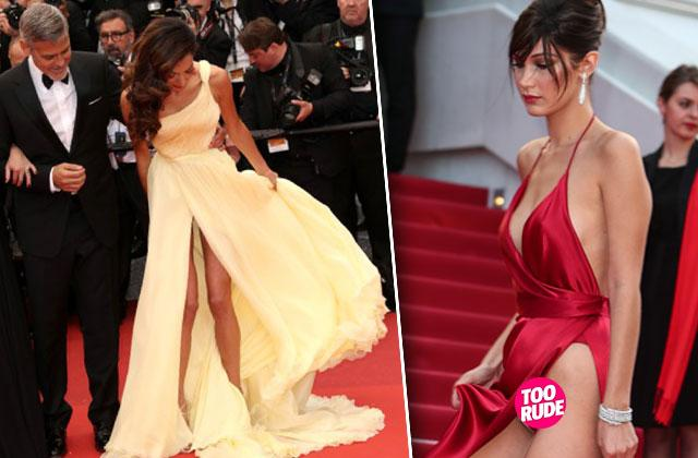 bella hadid amal clooney cannes film festival flash underwear wardrobe malfunctions