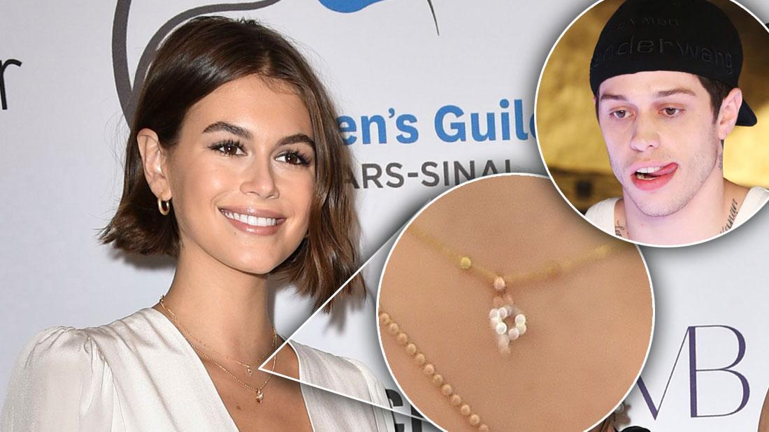 Kaia Gerber Wears 'P' Necklace Amid Pete Davidson Romance
