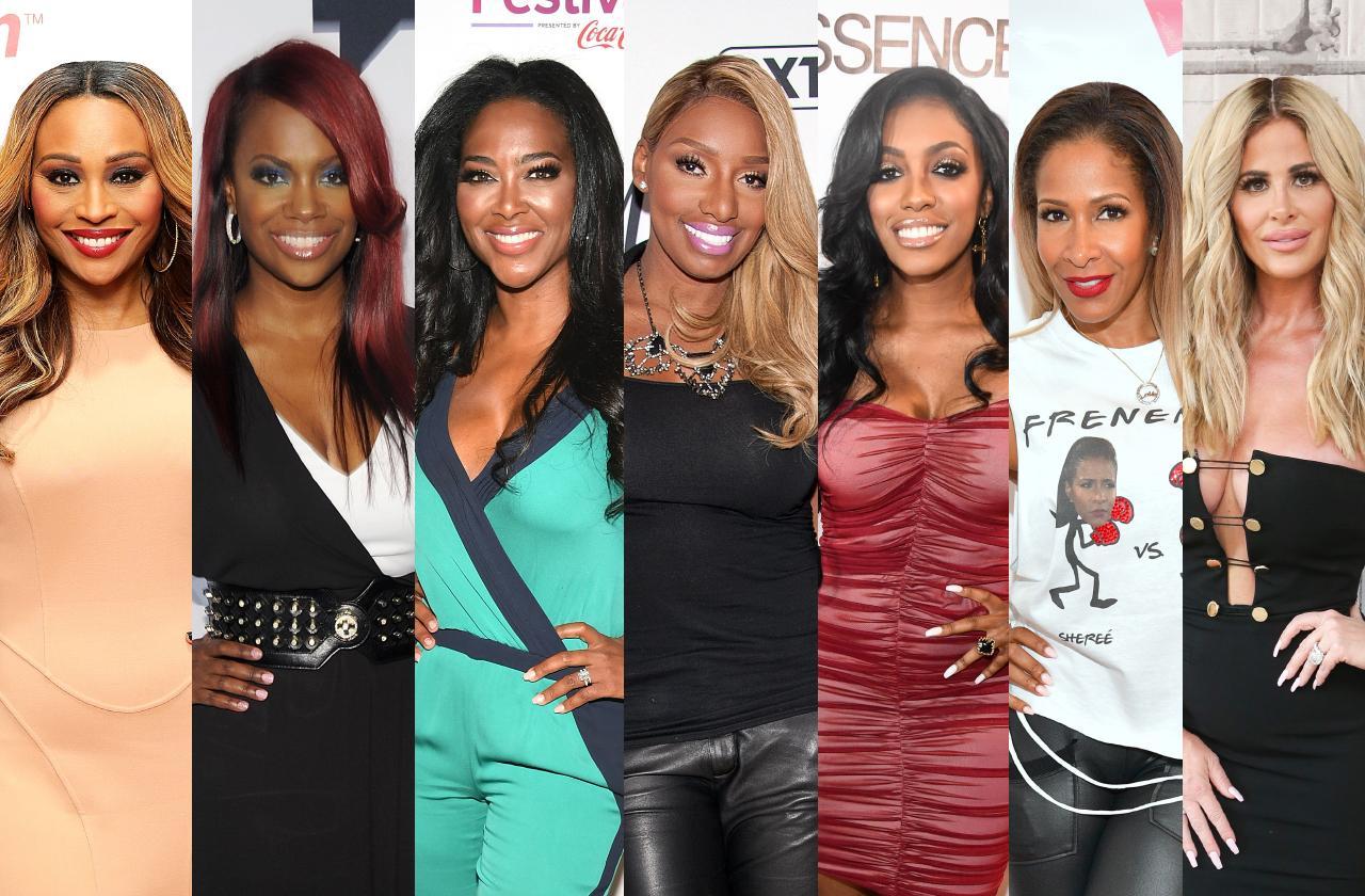Real Housewives of Atlanta cast members Cynthia Bailey, Kandi Burruss, Kenya Moore, NeNe Leakes, Porsha Williams, Sheree Whitfield, and Kim Zolciak