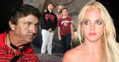 Angry Jamie Spears Weraing Red, Black And White Golf Shirt Looing At Inset Of Britney Spears and Her Two Sons, And Photo Of Angry Britney Spears On Right