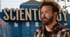 Danny Masterson Looking Serious In Front Of Blue Church With Large Scientology Lettering