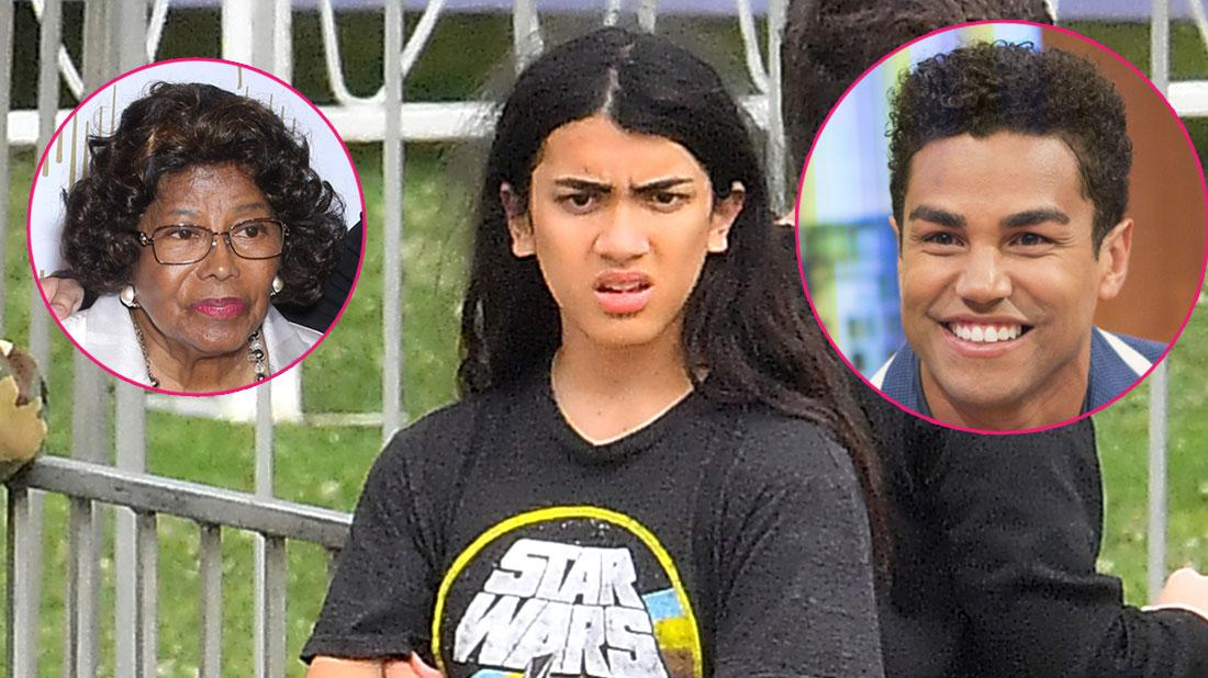 Blanket Jackson wearing a star wars shirt. Inset left, Katherine Jackson. Inset right, TJ Jackson.