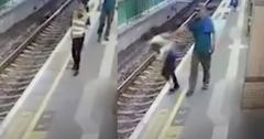 //Drunk Man Pushes Woman Into Train Tracks pp