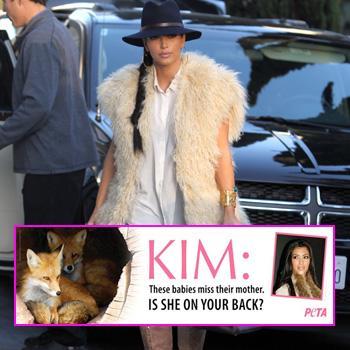 //kim kardashian fur peta ad splash