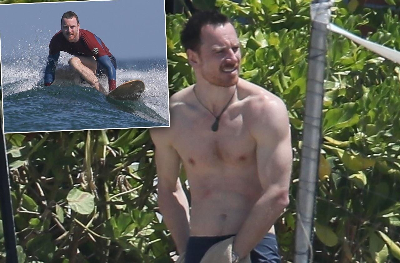 Michael Fassbender Shirtless Abs Beach