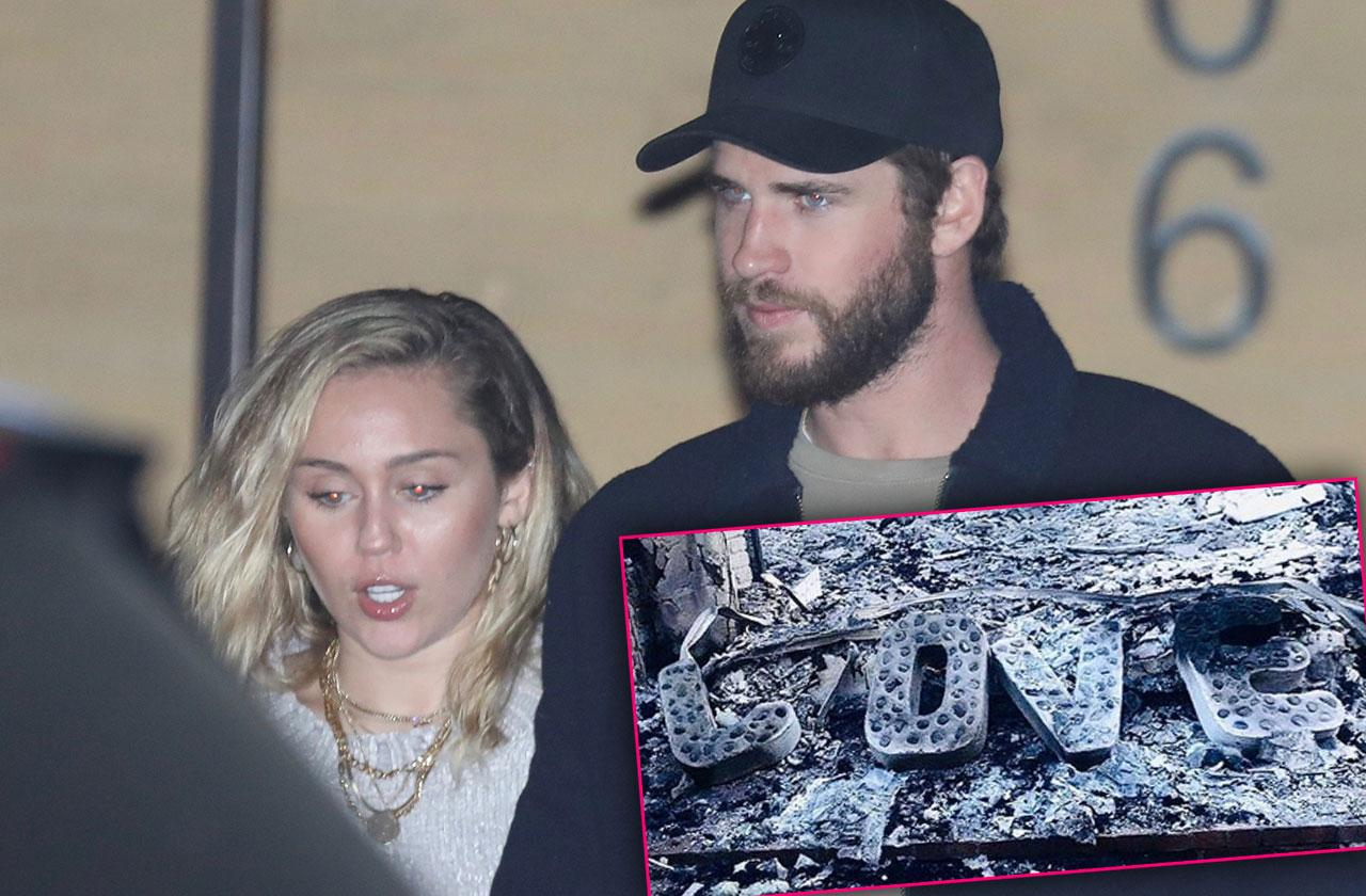Liam Hemsworth Miley Cyrus Burned House Photo