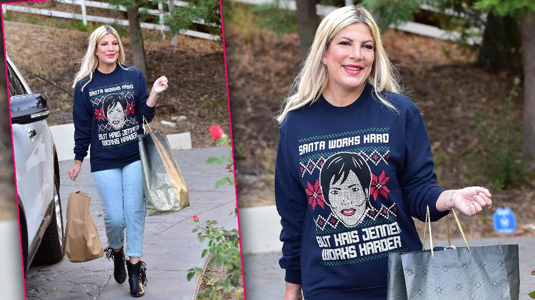 Tori Spelling Shops In Kris Jenner Xmas Sweater Amid Money Woe