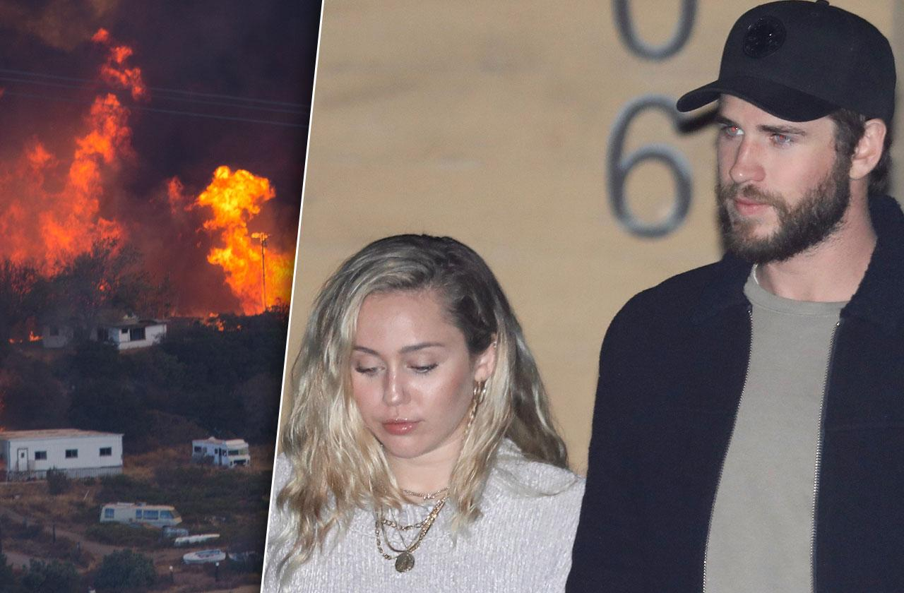 miley cyrus wedding cancelled liam hemsworth home burns california wildfire